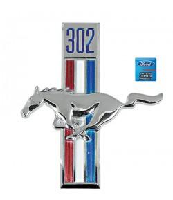 """Emblème d'aile avant gauche """"Cheval + cylindrée moteur 302"""" - Mustang 1968"""