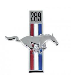"""Emblème d'aile avant droite """"Cheval + cylindrée moteur 289"""" - Mustang 1967-68"""